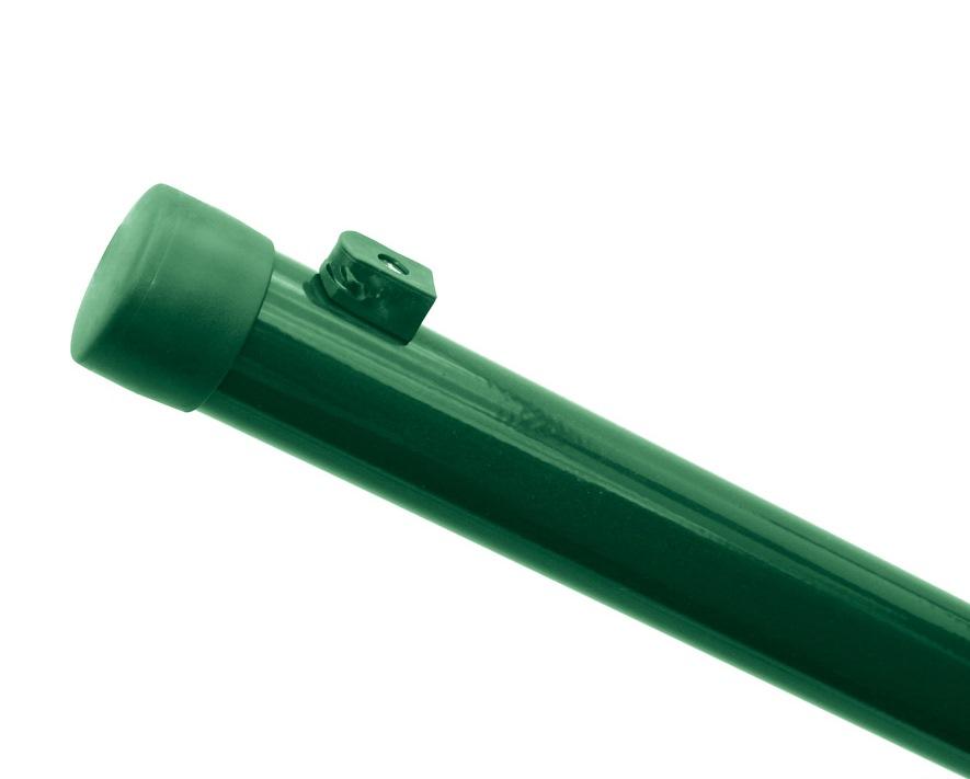 Sloupek kulatý IDEAL Zn + PVC 2000/38/1,25mm, zelená čepička, zelená př. nap. drátu, zelený 2,2Kg