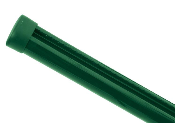 Sloupek kulatý PILCLIP Zn + PVC s montážní lištou 2500/48/1,5mm, zelená čepička, zelený 4,31Kg