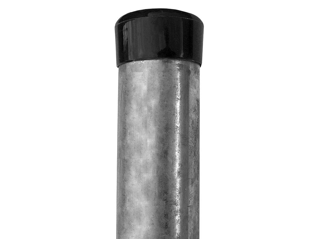 Sloupek kulatý IDEAL Zn 2000/48/1,5mm, černá čepička 3,2Kg