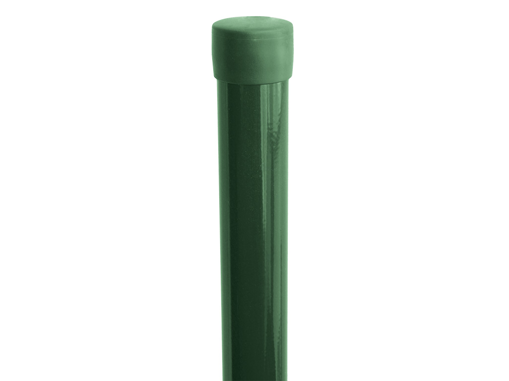 Sloupek kulatý IDEAL Zn + PVC 2000/48/1,5mm, zelená čepička, zelený 3,2Kg PLOTY 8595068401705