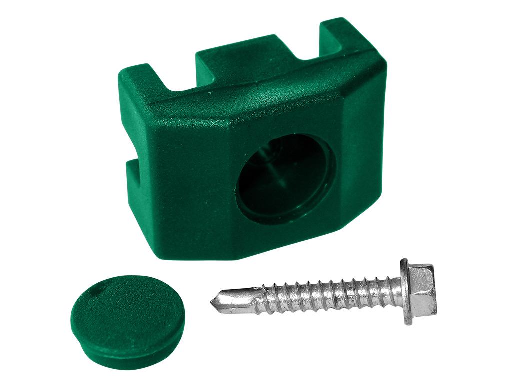 Příchytka PVC na sloupek 60x40 mm pro panely PILOFOR včetně šroubu, zelená 0,03Kg