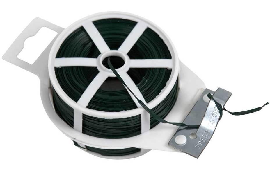 Vázací drát Zn + PVC 100m s odstřihem, plochý, zelený 0,17Kg