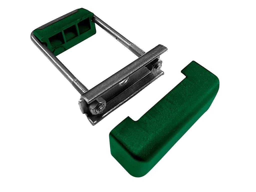 Příchytka panelu PRO na obdelníkový sloupek 60x40 nerez + PVC, zelená 0,08Kg