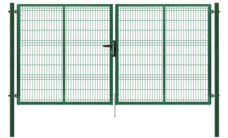 Brána PILOFOR dvoukřídlá, 4118x2045 mm, Zn+RAL 6005 86,4Kg
