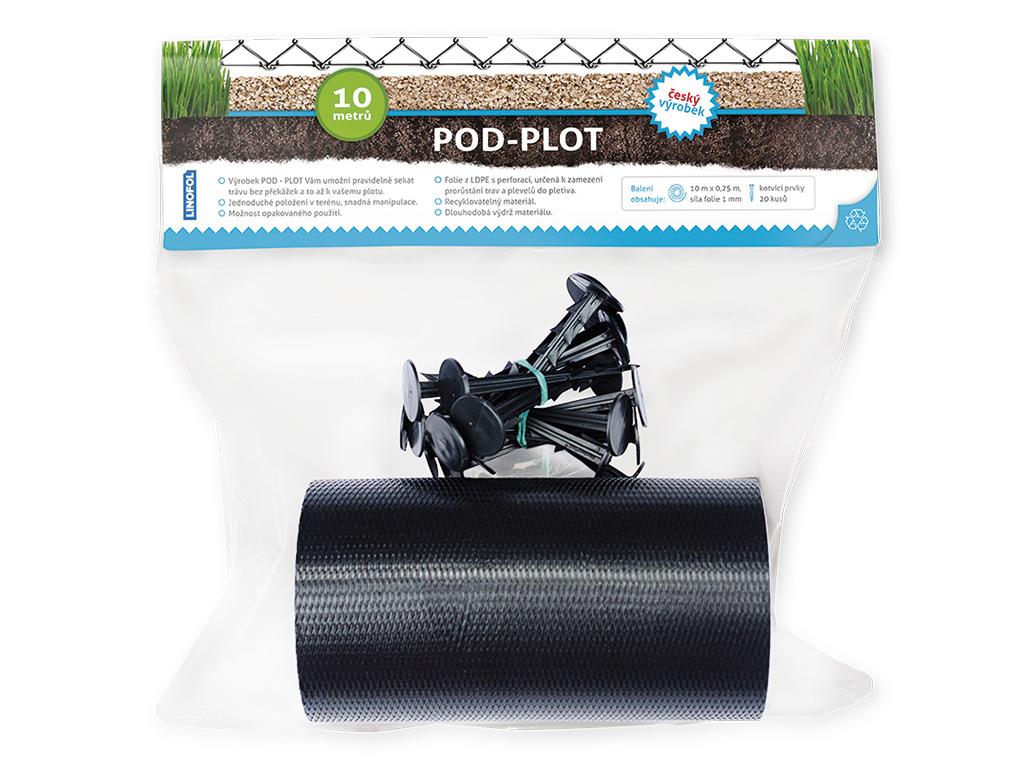 Fólie pod plot 25cm/10m + 20ks plastových hřebů - SET 2,2Kg