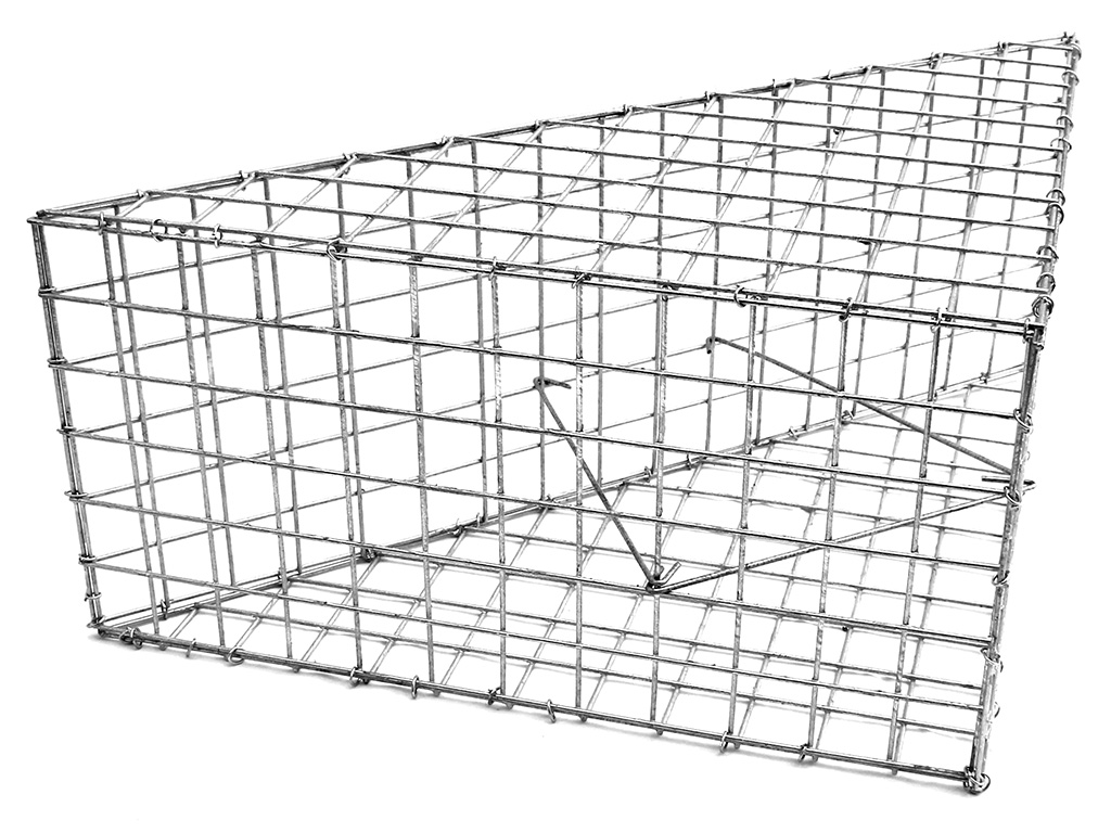Gabionový trojúhelník 600x848x300mm, oko 50x50mm, Ødrátu 3,5mm, 3x spona, 100x svorka 4Kg