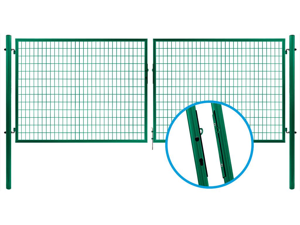 Brána SOLID dvoukřídlá, 3580x950 mm, Zn+RAL 6005 29,5Kg