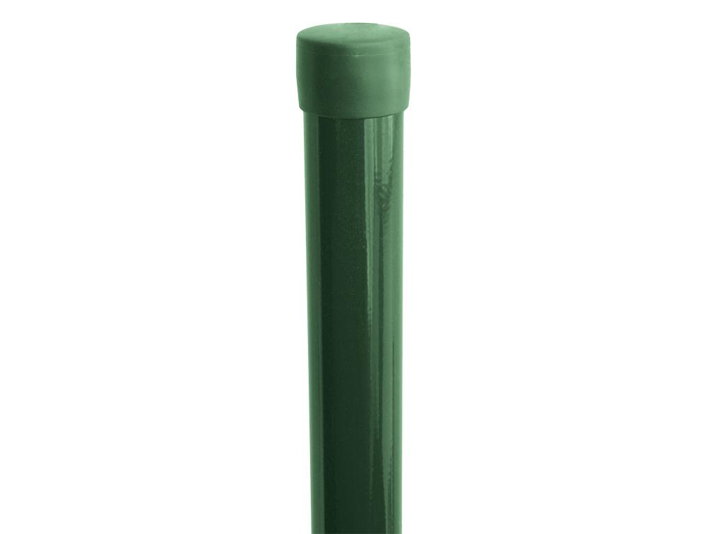 Sloupek kulatý IDEAL Zn + PVC 1500/48/1,5mm, zelená čepička, zelený 2,4Kg