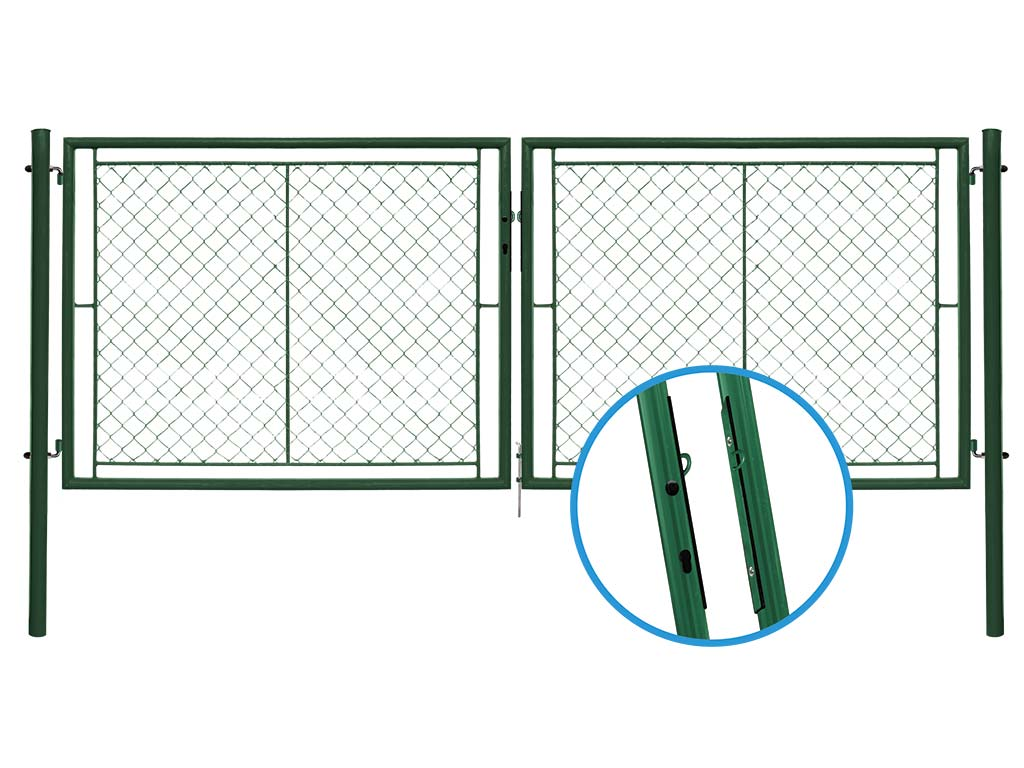 Brána IDEAL II. dvoukřídlá, 3605x1450, Zn+PVC, zelená 42Kg